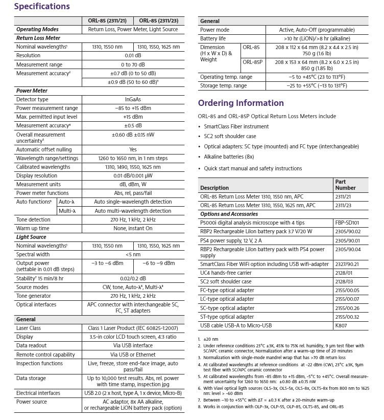 Ltd  DBN – ORL-85 and 85P Optical Return Loss Meters